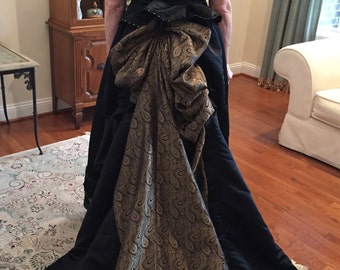 1880's Style Black and Gold Satin Bustle Dress