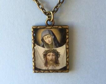 St. Veronica brass medal pendant necklace