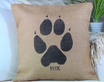 Burlap Pillow- Fox Paw Pillow, Fox Pillow, Woodland Nursery, Lodge Decor, Animal Pillows, Cabin Decor