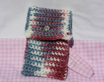 Rose Pink and Light Blue Crochet Phone Cover, Cell Phone Case with Strap, Smartphone Crochet Pouch with Flap Lid