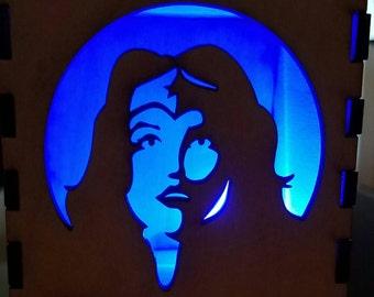 Wonder Woman / Wooden Box / Tealight Box / Wooden Tea Light Holder / Gift for Her / Halloween Decoration / Stocking Stuffer / Light Box
