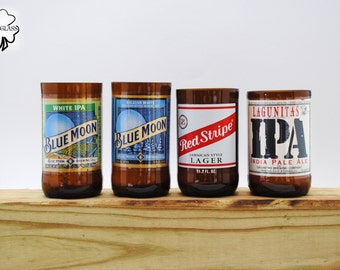 Short Beer Bottle Tumbler & Drinking Glasses Made from: Blue Moon, Blue Moon White IPA, Red Stripe, and Lagunitas IPA