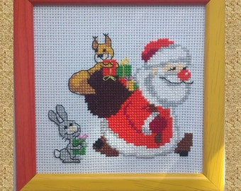 Christmas - Embroidered picture - Santa Claus  - Home decor - Mini Wall Decor - Handmade cross stitch picture