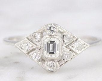 SOLD Debbie Art Deco Emerald Cut Diamond Engagement Ring