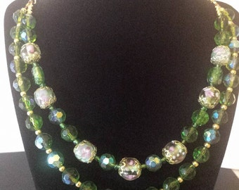 Green and Gold Multi Strand Necklace, Matinee length, New Price!