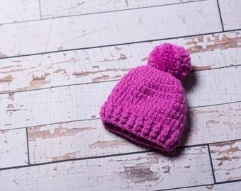 Crochet Baby Hat - Pink Crochet Baby Hat, Baby Shower Gift, Fall/Winter Baby