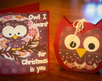 Owl I Want For Christmas Bag and Card - Red