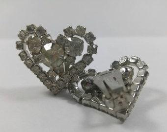 Vintage Rhinestone Clip on Heart Shaped Earrings 9177
