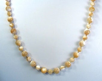 Natural Mother of Pearl Necklace Gold 24""