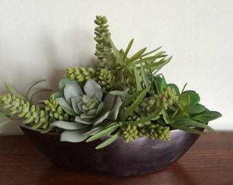 Faux Succulent Centerpiece in Ceramic Gray Metallic Boat
