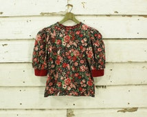 vintage 1980s puffy sleeve red floral valentine cotton top blouse XS
