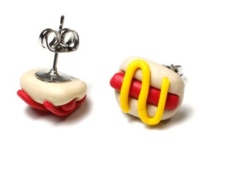 Hot-dog earrings polymer clay stud earrings jewelry hot dog food mustard and ketchup in stainless steel