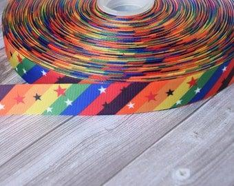 Rainbow ribbon - Gay pride - 3 or 5 yard lot - Pretty ribbon - Colorful ribbon - Star light star bright - DIY hair bows - Funky ribbon