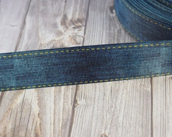 "1"" faux denim ribbon - Grosgrain ribbon - 3 or 5 yard lot - Blue jean look - DIY blue jean bow - DIY denim hair bow - Pretty ribbon"