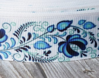 "blue flower ribbon - Blue and white - Unique ribbon - Pretty grosgrain ribbon - 1"" 3 or 5 yard lot - Funky ribbon - Retro look - Vinate look"