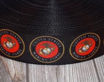 """U.S. Marine ribbon - 1"""" grosgrain ribbon - 3 or 5 yard lot - Marine crafts - DIY Marine bow - Daddy Marine - Mommy Marine"""