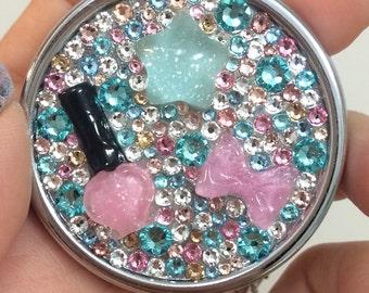 Light Pink & Light Blue Swarovski Crystal Pill Case