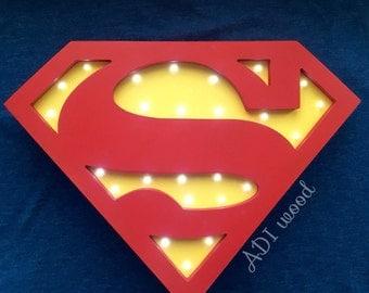 Nightlight is handmade from wood Superman