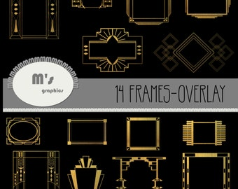 Frames ART DECO GOLD for Overlay. 14 files + 2 extras. Transparent, to use with favourite background.