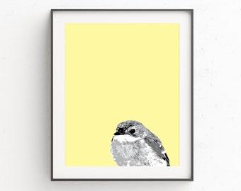 Nursery Animal Prints, Nursery Animal Art, Yellow and Gray Nursery, Yellow and Grey Nursery, Bird Print, Nursery Art Prints
