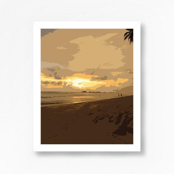 modern coastal decor beach scene wall art tropical by ojudesign. Black Bedroom Furniture Sets. Home Design Ideas