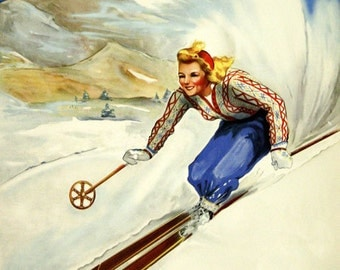 Ski Stowe Vermont Skiing Winter Sport Mountains Blond Girl Lady Race American U S A Vintage Poster Repro Free S/H in USA