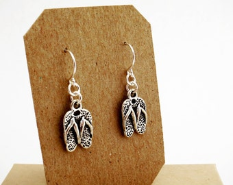 FLIP FLOP EARRINGS - summer sandal earrings - surgical stainless steel hypoallergenic nonallergic ear wires sensitive ears
