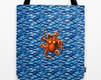 Orange Octopus Tote Bag, 3 Sizes Available
