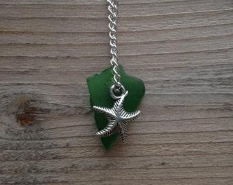 Emerald Green Sea Glass Starfish Charm Necklace