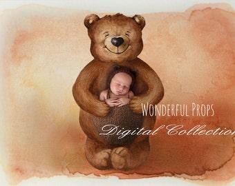 Teddy Bear - Digital Backdrop - Photo Prop for Newborn Photography
