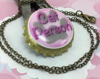 NECKLACE- Cat Person bottle cap necklace