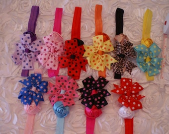 Headband, Rosebud headband, Polka dot headband, Rose & Polka dot bow headband