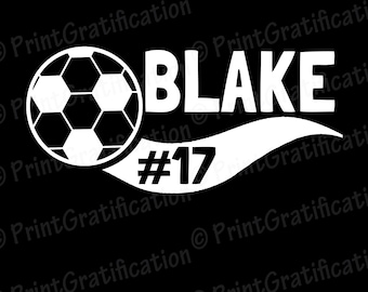 DECAL:  Car/Other- Soccer or Futbol decal 6.5 in W x 3 in H
