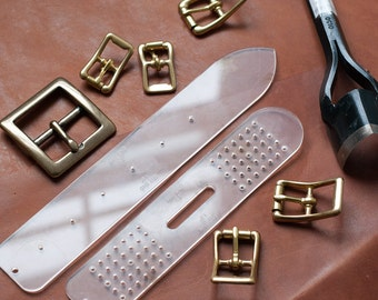 Custom Size Leather Belt / Leather Strap End Acrylic Template Set (English Point) - Made in USA - Leathercraft Template