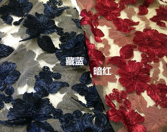 Dark Red and Dark Blue Embroidery Ribbon Rosen Lace Fabric ,Lace Ribbon Flower Fabric ,3D lace by one meter