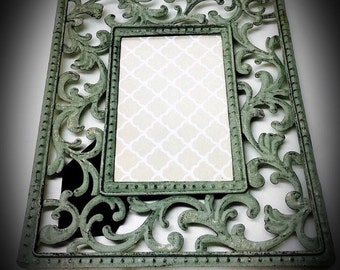 vintage distressed metal filigree picture frame seafoam green