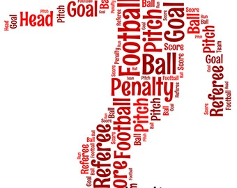 5x7 or A4 Size Personalised Male Football / Soccer Player Word Art Print * Digital File Also Available*