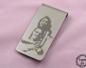 Contour Profile Photo Convert Laser Engrave, Memorial Script, TextEngrave Money Clip, Bookmark Stainles Steel Gift Idea