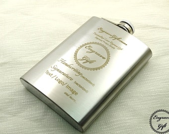 Custom Personalized 8oz Steel Flask Wedding Favor , Your Handwriting, Text, Logo