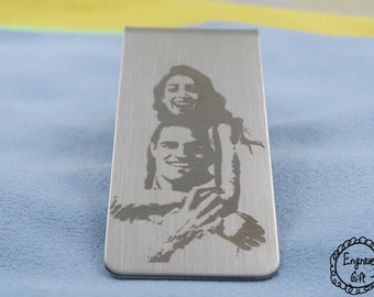 Personalised Custom Text, Handwriting, Signature Finger Print, Hand Print Engrave Stainless Steel Money Clip in your Own Gift Ideas
