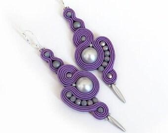 Purple earrings violet earrings soutache dangle lavender earrings purple grey earrings very long earrings clip on