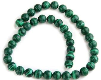 Malachite Gemstones 10mm, Green Smooth Round Beads, 10pcs