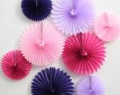 Set of 8 tissue paper pinwheels. Pink, fuchsia, lavender, purple party decorations. Pink finwheel fan.  Purple pinwheel fan. Party decor