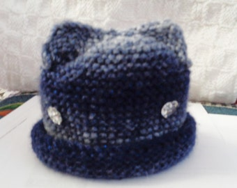 baby hat- blue shadow with kitty ears