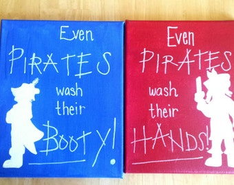 Pirate Canvas - Even Pirates Wash Their Booty - Even Pirates Wash Their Hands - Pirate Bathroom Decor - Pirate Decor