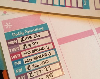 9 Weekly / Daily Spending Planner Sticker great for  Happy Planner etc