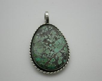 Green Turquoise sterling silver hand fabricated Sterling Silver