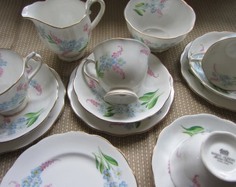 Vintage hand painted Royal Albert  English bone china tea set for four. 4 trios, milk jug sugar bowl tea cup saucer plate tea party, wedding
