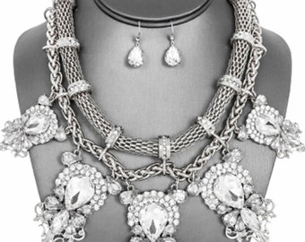 Victorian Silver Multi-Strand Rhinestone Necklace Set