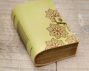 Light Green Leather Journal, Handbound Journal, Leather Notebook, Diary, Travel Journal